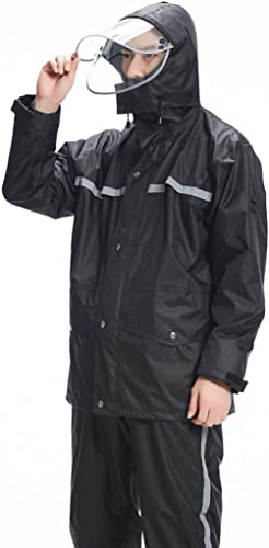 Duanguoyan Imperméable- Pantalon imperméable imperméable Costume Homme Adulte imperméable Moto électrique imperméable Femme épais épais imperméable (Couleur   Noir, Taille   L)