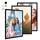 Photolini Lot de 3 Cadres 50x70 cm Collection Basique Moderne Noir en MDF Comprenant Accessoires/Collage de Photos/galerie d'images/Multi Cadre Photo Mural