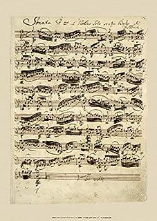 BiblioArt Series J. S. バッハ自筆譜『無伴奏ヴァイオリンのためのソナタ第1番冒頭部分(バッハのサイン入り)』ーA3版サイズ額絵