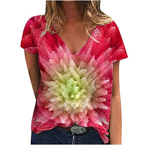 AMhomely Camisas y blusas para mujer con estampado casual y cuello en V sueltas de manga corta para mujer, blusa tipo túnica, blusa para oficina