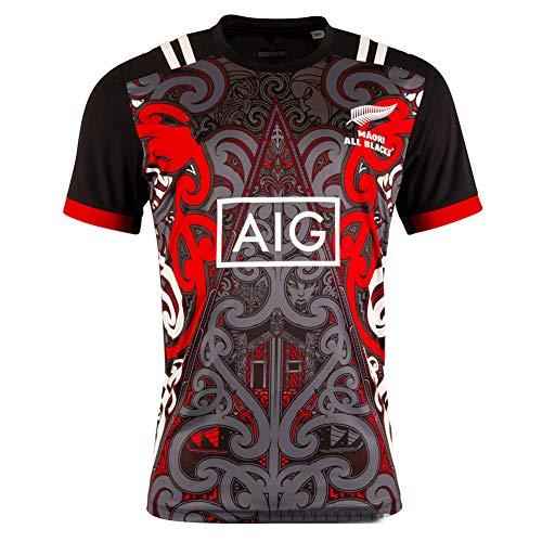 WYNBB 2018-2019 Rugby Jersey Rugby-Trikot Maori-Training für Männer Kurzarm-Freizeit-T-Shirt-Trainingsanzüge,S/165-170CM
