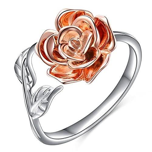 Anillo Abierto para Mujer,Vintage Rose Flower Leaf Anillo Ajustable Flor De Oro Rosa Encantador Elegante Romántico Cóctel Joyería Moda Regalo del Día De San Valentín
