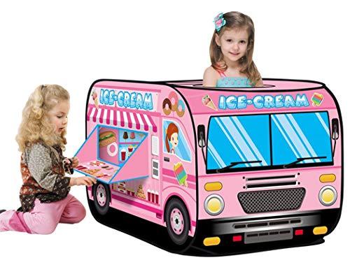 BENGO Tienda de juegos de camión de helado para niños, tienda de juegos plegable rosa princesa casa de juegos para interiores y exteriores regalo para niños