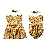 Gajaous Ropa de trabajo para hermanas, para bebés, niños, niñas, vestido de flores, body para hermanas, mono para verano, vestido de verano amarillo 4-5 Años