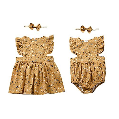 Gajaous Ropa de trabajo para hermanas, para bebés, niños, niñas, vestido de flores, body para hermanas, mono para verano, vestido de verano