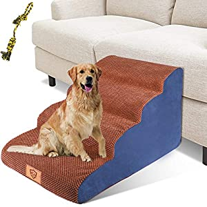 Dog Stairs, 4-Step Sponge Pet Steps for Small Dogs Non-Slip High Density Foam Pet Ladder Stairs Lightweight Portable for Medium Large Dog Cats (Send 1PC Dog Toy Rope)