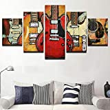 Cuadro en Lienzo 5 Pieza impresión Lienzo artística Pintura Diseño Cuadro Moderno Pared gráfica Guitarras Música Rock y Roll Enmarcado