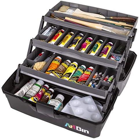 ArtBin 6893AG 3 Art Supply Box, Portable Art & Craft Organizer with Lift-Up Trays, [1] Plastic Storage Case, Gray/Black, 0
