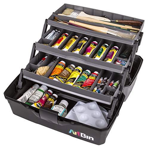 ArtBin 6893AG 3 Art Supply Box, Portable Art & Craft Organizer with Lift-Up Trays, [1] Plastic Storage Case, Gray/Black