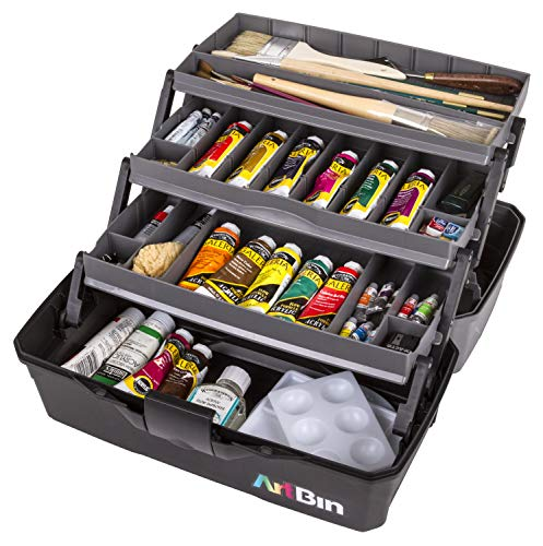 ArtBin 3 Art Supply Box Portable Art & Craft Organizer with Lift-Up Trays [1] Plastic Storage Case Gray/Black