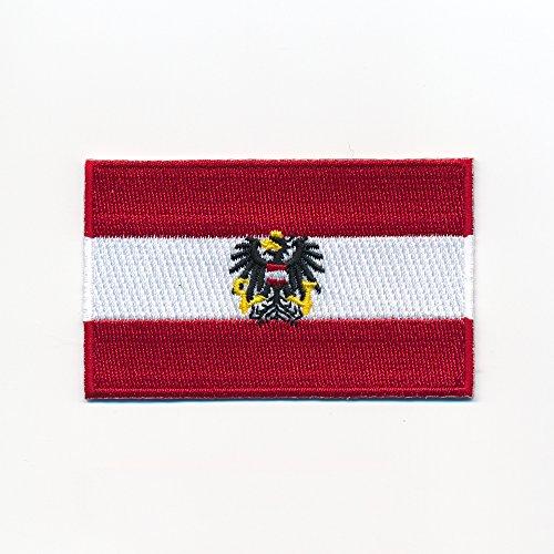 hegibaer 40 x 25 mm Österreich Flagge + Adler Austria Flag Wien Aufnäher Aufbügler 0949 A