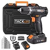 Taladro Atornillador 18 V TACKLIFE, 2 baterías de Litio de 2.0Ah, 2 Velocidades con 19 + 1 Posiciones par Max 30 N.M, Carga Rapida de 1 hora, Portabrocas de 10 mm, Accesorios 43pcs, PCD05B