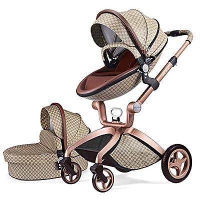 Cochecito de Bebe Hot Mom Cochecito y Sillas de paseo 2 en 1 con silla y el capazo, 2020 estilo de vida F22 (Grid-2)