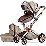 Hot Mom Pushchair 2019, 3 in 1 Baby Stroller Travel System with Bassinet