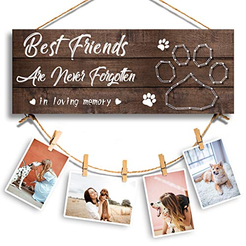 GEMTEND Pet Memorial Gifts, Paw Prints Sympathy Frame Gift for Loss of Dog and Cat, Dog and Cat Memorial Gifts, Clips and Twine for Photo Hanging, Makes a Personalized Gift for Pet Lovers