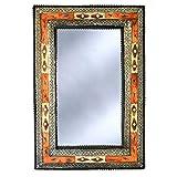 Espejo de pared oriental de 80 x 50 cm, perfecto para tu pasillo o salón | de madera maciza y decorado con metal noble | Espejo perchero marroquí vintage oriental