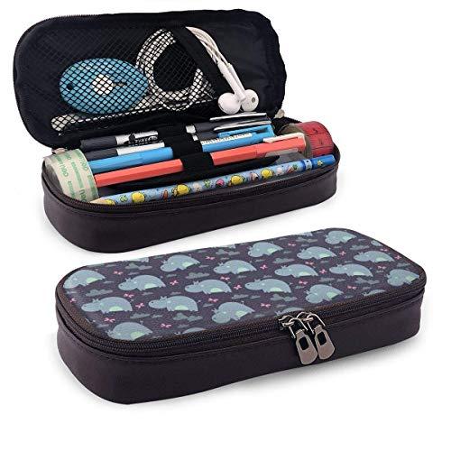 XCNGG Estuche para lápices neceser Lovely Hippo Pencil Case Big Capacity Pen Case Desk Organizer with Zipper - 8x3.5x1.5 Inches