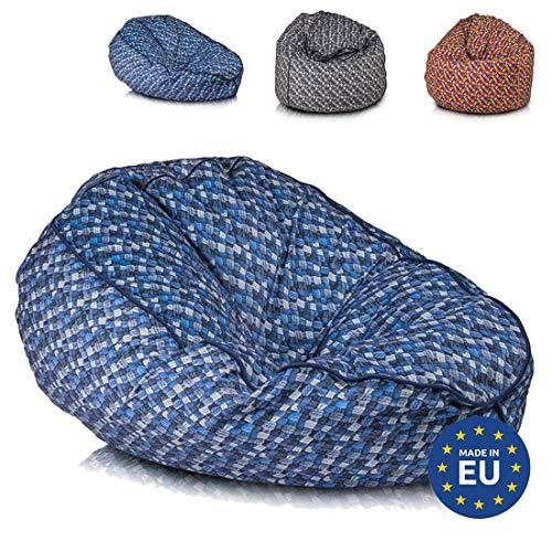 Ecopuf Sitzsack L Design - Voller Beanbag aus Plüsch-Mikrofaser mit Anti-Verlust-Reissverschluss