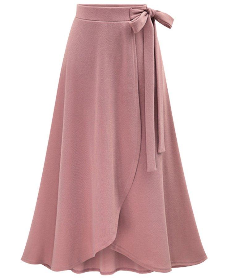 法贝莱 欧美春季2018女装新款时尚半身裙高腰不规则裙子开叉裙大码中长款绑带女裙7200