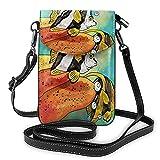AOOEDM Peces de acuario bolso cruzado para teléfono móvil para mujeres y hombres, colorido pez ángel de dibujos animados Barbus Barb Bubble Danio Animal marino PU cuero bandolera bolsa para teléfono