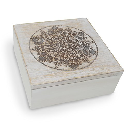 Decorative Wooden Treasure Box With Engraved Art, Trinket Box, Mini Storage Chest For Jewelry, Memento Case, Wood Holder For Miscellaneous Teabags Coins, Rustic Antique Distressed Container