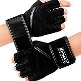 Grebarley Fitness Gloves Guantes de Entrenamiento, Levantamiento de Pesas liviano Ideal para Levantamiento de Pesas, Entrenamiento de Crossfit y Traje de Ciclismo para Hombres y Mujeres (Negro, L)