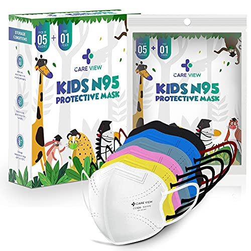 Careview Kids N95 Face Mask (Pack of 5 + 1 Free), MIX Colors,5 Layered Filtration, DRDO, BIS (ISI),CE Certified, Ear Loop Style, MULTICOLOR (KIDS-N95-MASK)