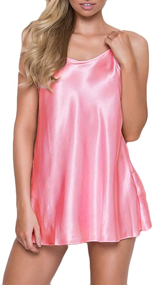 Women Satin Lace Lingerie Sexy V Neck Nightgown Sleepwear Nightwear Dress Temptation Mini Teddy Chemise