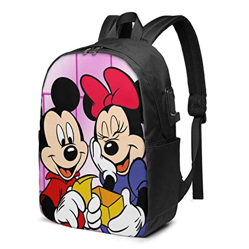AOOEDM USB Backpack 17 in Cartoon M-Ickey M-Ouse Laptop Backpack with USB Charging Port Headphone,Large Capacity Business Commute Backpack,College Women Men Backpack Travel Bag 17 Inch