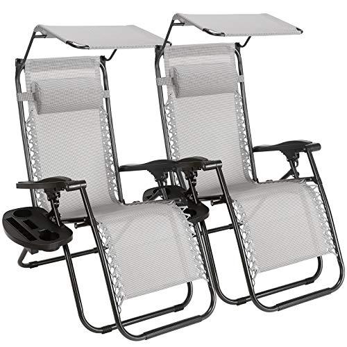 Set di 2 sedie reclinabili Regolabili Zero Gravity per Patio Piscina Colore Nero con portabicchieri Chillax