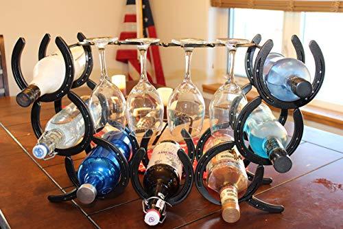 Horseshoe Wine Rack Holds 7 Bottles and 4 Glasses.