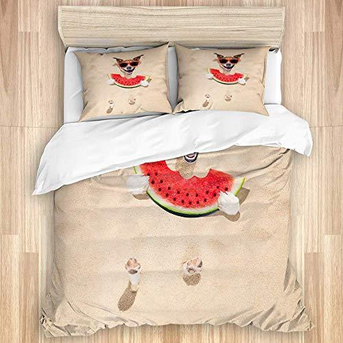 Juego de funda nórdica de 3 piezas, perro Jack Russell enterrado en la playa de arena, vacaciones de verano, gafas de sol rojas comiendo sandía jugosa, colcha con cremallera para dormitorio con 2 fund