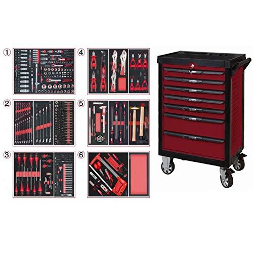 KS Tools 809.7452 Pearlline gereedschapswagen, 7 laden, 455 gereedschappen, rood