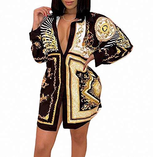 Remelon Womens Stripe Chain Print Button Down Collar Long Shirt Dress Blouse Mini Dress Black XXL