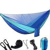 HLSUSAN Hamaca Ultraligera para Viaje y Camping con Mosquitero Pop Up Portátil Transpirable Nylon de Paracaídas para 2 Personas 200kg de Capacidad de Carga 290×140cm Azul
