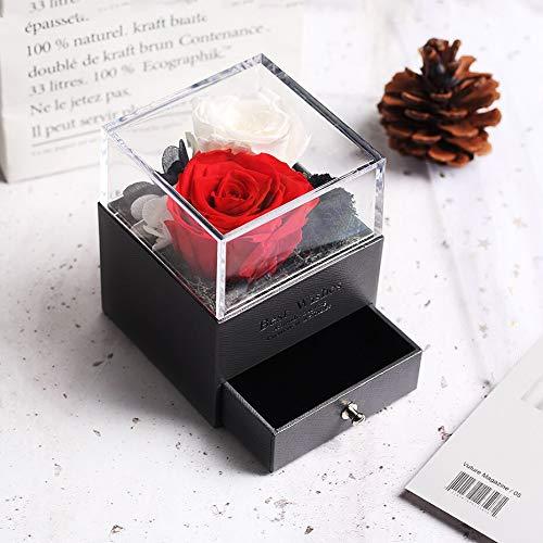 Caja de joyería para mujer, diseño de oso de rosa de peluche, para bodas, fiestas, día de San Valentín, cumpleaños, rosa eterna