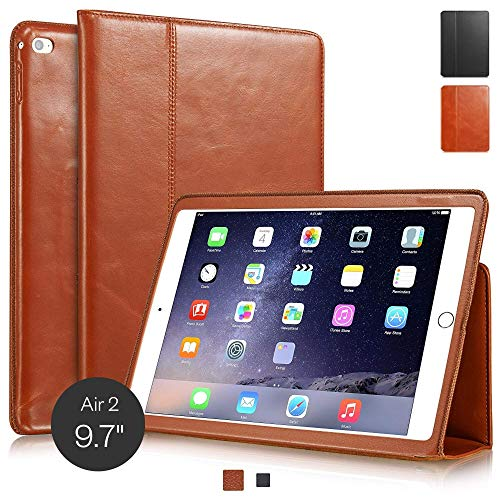 KAVAJ leather case Berlin for the Apple iPad Air 2 cognac brown - genuine leather with stand-up feature. Thin Smart Cover as premium accessory for the original Apple iPad Air 2