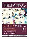 Honsell Fabriano Mixed Media-Bloc de papel para artistas (DIN A4, 40 hojas, 250 g/m2, adecuado para técnicas de pintura mojada y seca), Blanco
