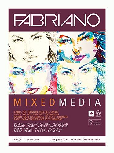 Honsell Fabriano Mixed Media-Blocco di Carta per artisti, Formato A4, 40 Fogli, 250 g/m2, Adatto per Tecniche di Pittura a Secco e Bagnato, Bianco, DIN