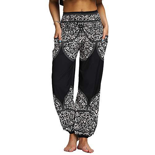Nuofengkudu Mujer Hippies Pantalones Harem Tailandeses Boho Estampados Bolsillos Cintura Alta Baggy Yoga Pants Verano Playa Fiesta (Negro C,Talla única)