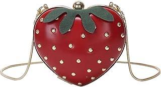 KUSO Damen-Handtasche aus Acryl, mit Kreuzschlitz, niedlicher Obst-Stil, Handtasche für Mädchen, niedlich, Erdbeer-Form
