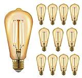 RinconLED-Bombilla filamento Led E27 estilo vintage decorativa,luz cálida 2700K de 6W,tipo Edison con filamento de LED,cristal ahumado brillante,Gran ahorro energético hasta 80%. (PACK 12)