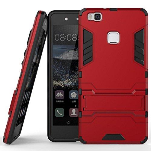MaiJin Funda Huawei P9 Lite (5,2 Pulgadas) 2 en 1 Híbrida Rugged Armor Case Choque Absorción Protección Dual Layer Bumper Carcasa con Pata de Cabra (Rojo)