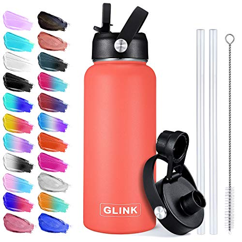 Stainless Steel Water Bottle with Straw - 32 oz Wide Mouth Double Wall Vacuum Insulated Water Bottle Leakproof, Straw Lid and Spout Lid with New Rotating Rubber Handle - Coral