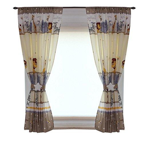 TupTam Kinderzimmer Vorhänge Set mit Zierband und Stern, Farbe: Imagine Beige, Größe: ca. 155x155 cm