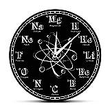 LittleNUM Química configuración de símbolos Reloj de Pared de Tabla periódica de los Elementos Reloj de Pared de la decoración del hogar Negro acrílico Reloj de Pared Creativo