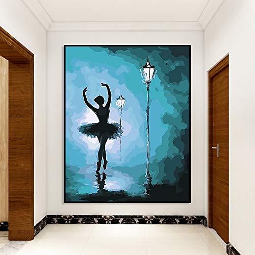 Pintura a mano pintura al óleo por gato digital flor rosa imagen bailarina lienzo abstracto DIY hogar arte de la pared decoración dibujo para colorear 50x70 cm Sin marco