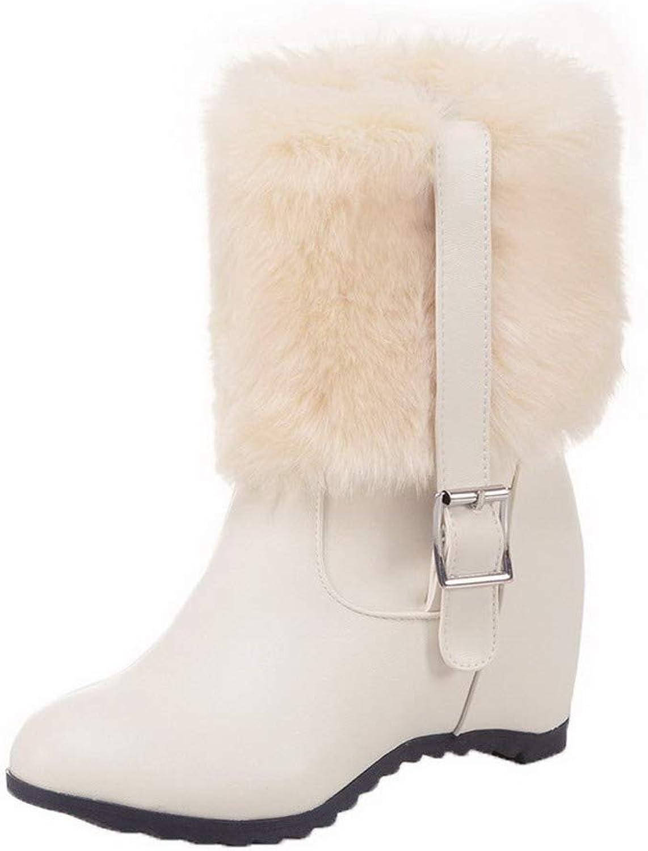 AmoonyFashion Women's Pull-On High-Heels Pu Solid Mid-Calf Boots, BUSXT109358