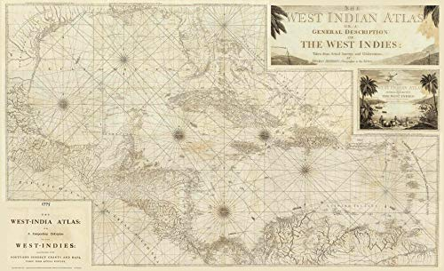 Huge Carribean Sea map 1775 - Jefferys West Indian Atlas - Custom Reprint