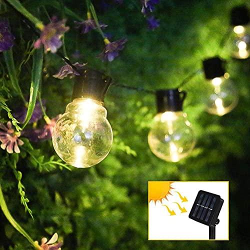 Roexboz Cadena de luces con bombillas, cadena de luces para exterior, cadena de luces solares para exteriores, decoración para balcón, jardín, boda